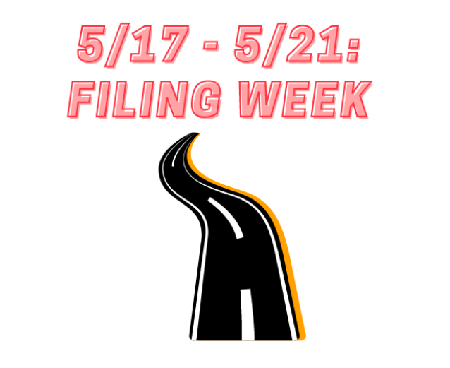 """Drawing of road and text reading """"May 17 to 21: Filing Week"""""""