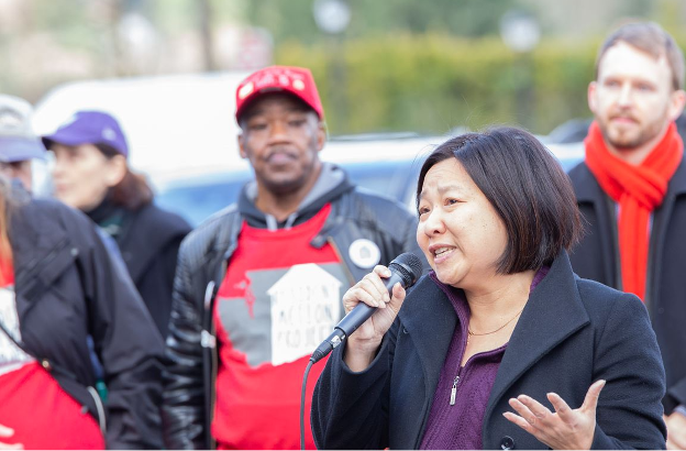 Photo description: Representative My-Linh Thai speaking to a crowd at the 2020 Housing and Homelessness Advocacy Day